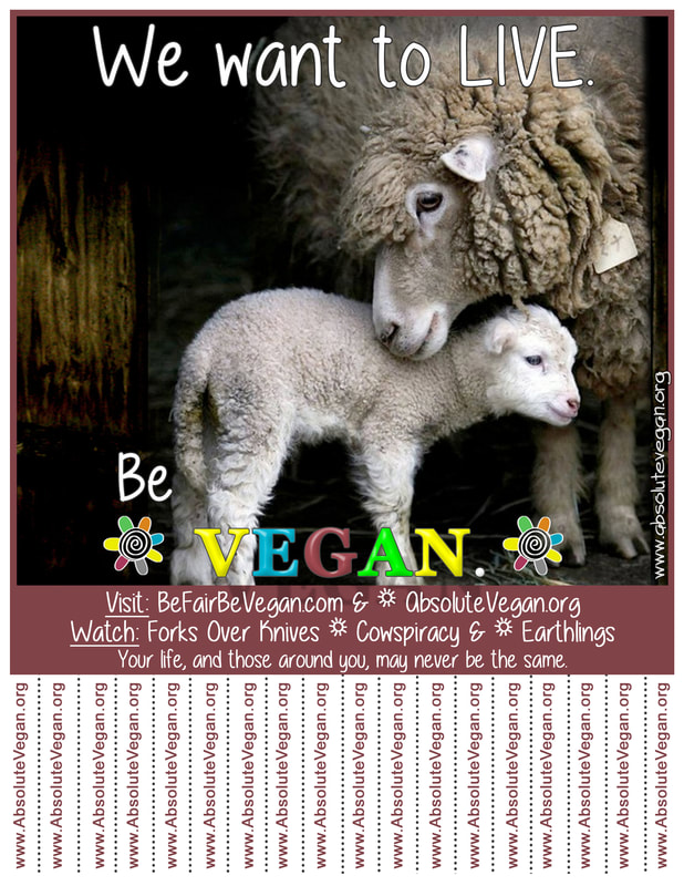 Vegan advocacy tear-off posters - We want to LIVE. Be VEGAN.
